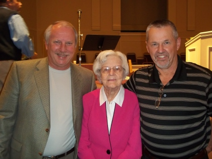 Mrs. Martha Newby in between two crazy Baptist Preachers