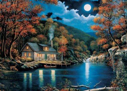 Kinkade's Cabin On A Lake