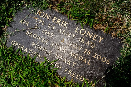 Corporal Jon-Erik Loney, was killed in action in Iraq late in 2006.  Loney drove a Bradley fighting vehicle in the US Army.  His grave is in Oak Grove in Morgan County.  Photo by Gary Cosby Jr.  05/26/10
