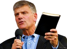 NEW YORK - JUNE 25: Franklin Graham, with Bible in hand, addresses the crowd before his father Billy Graham speaks during his Crusade at Flushing Meadows Corona Park June 25, 2005 in the Queens borough of New York. Flushing Meadows Corona Park is the site for Graham's sermons on June 24-26, which looks to draw thousands of people from across the country, and will purportedly be the aging Christian evangelist's final crusade. (Photo by Stephen Chernin/Getty Images)